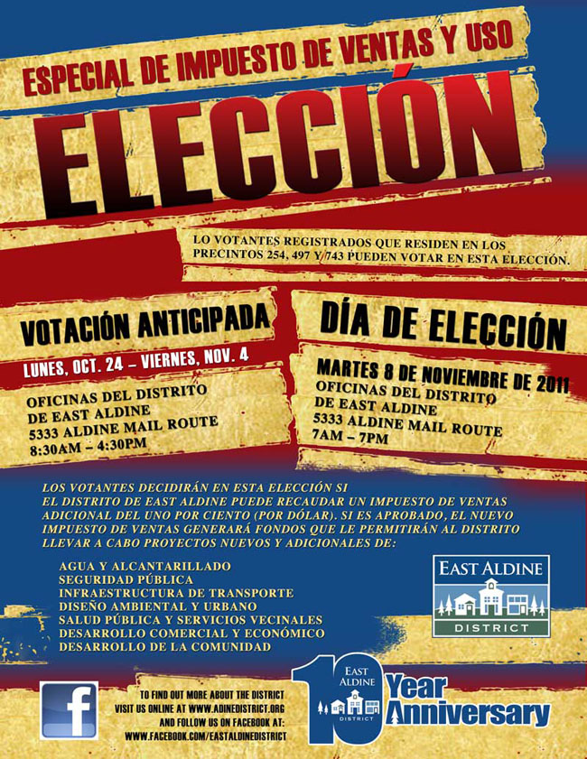 sales use tax election spanish flyer east aldine management district