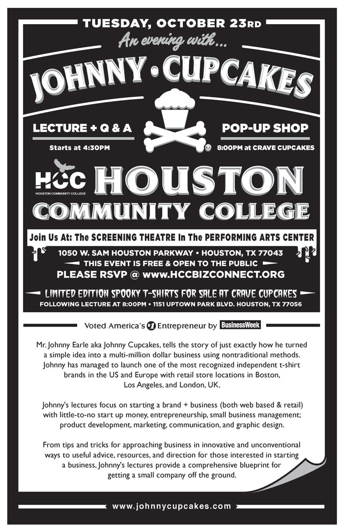 Johnny Cupcake visits Houston Community College