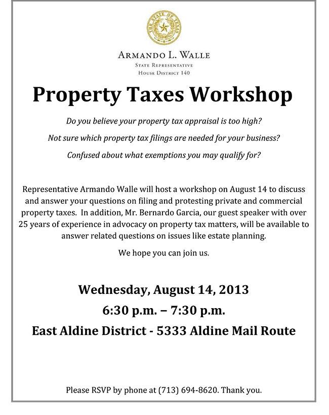 Protest Taxes Workshop Flyerx