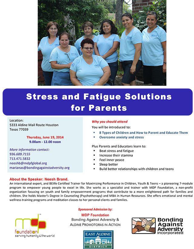 Stress and fatigue mgmt parents- Neesh as trainer 19 June 2014