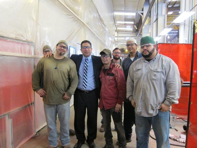 On May 7, TWC Chairman Andres Alcantar (second from left) attended a kick-off of the High Demand Job Training program at Team Fabricators in Port Arthur. Representatives from Workforce Solutions Southeast Texas, the Port Arthur Economic Development Corp. and local dignitaries attended a grant announcement at Team Fabricators and received a tour of the training facility and a welding demonstration.