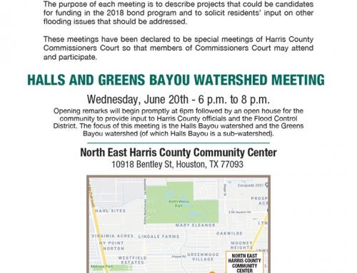 Halls and Greens Bayou Watershed Meeting, June 20