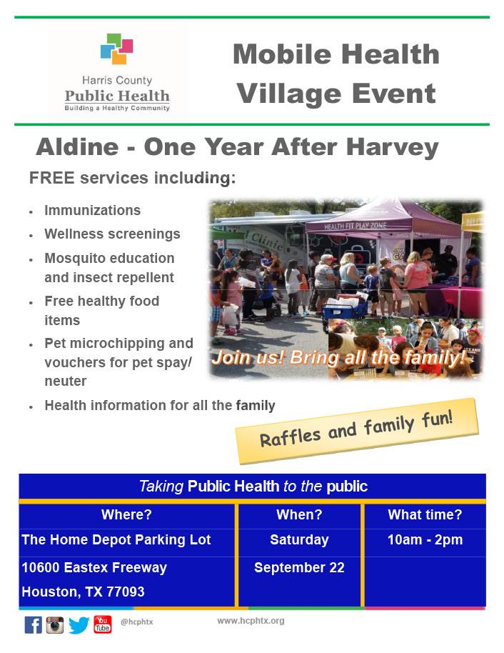 reminder hcph mobile health village event sept 22 east aldine