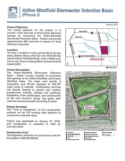 Aldine Westfield Detention Basin Project – East Aldine Management