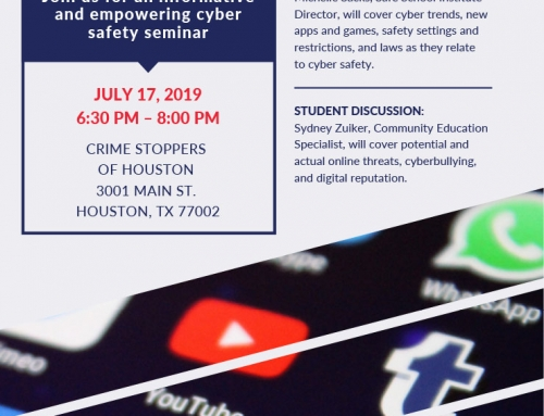 Cyber Safety Seminar with Crime Stoppers of Houston, July 17