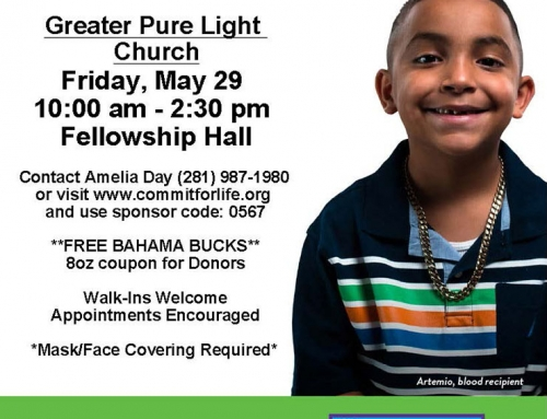 Greater Pure Light Church: Blood Drive, May 29
