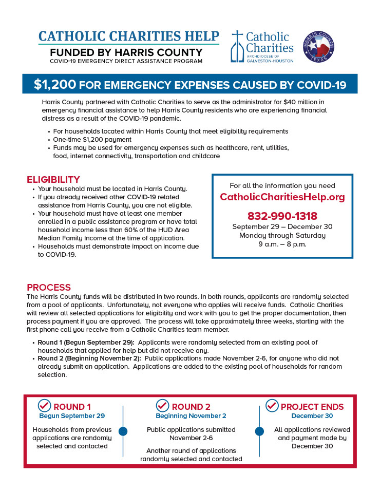 Catholic Charities Help: $1,200 for Emergency Expenses Caused by COVID-19