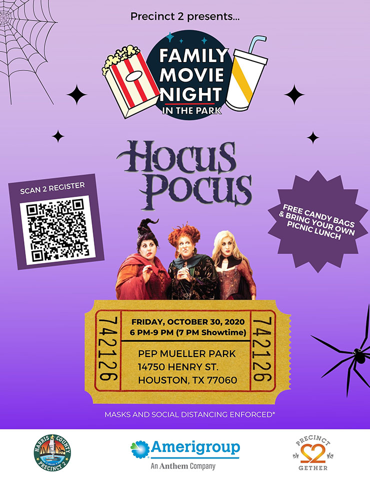 Precinct 2 presents: Family Movie Night in the Park, Oct. 30